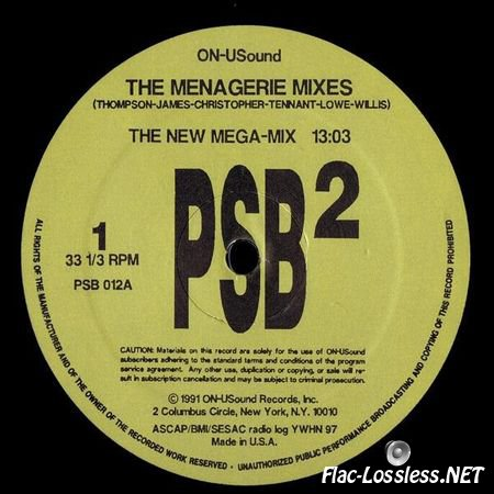 Pet Shop Boys - The Menagerie Mixes (1991) (Vinyl )FLAC (tracks)