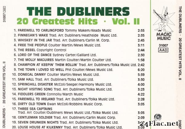 The Dubliners - 20 Greatest Hits - Volume 2 (1978) [FLAC (tracks + .cue)]